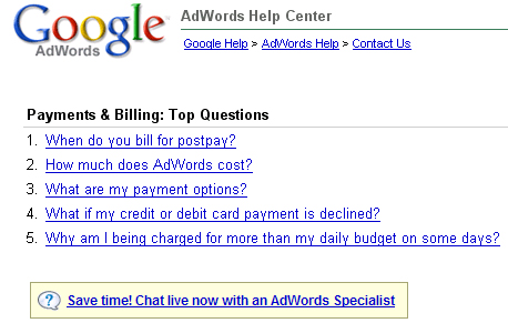 AdWords Help Chat
