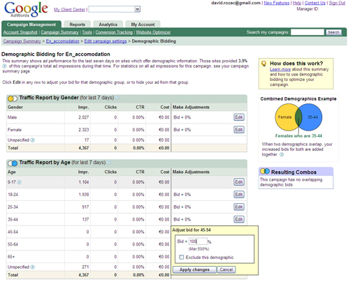 Google Adwords Demografic Bidding